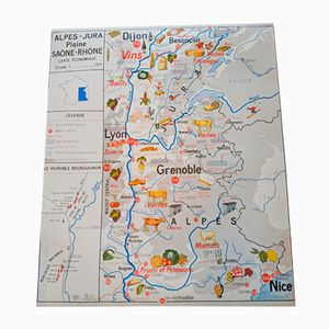 Double-Sided Geographical Map from Imprimerie Oberthur, 1964
