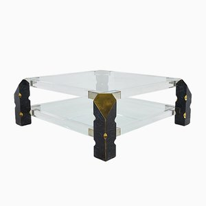 Brass and Lucite Coffee Table, 1960s