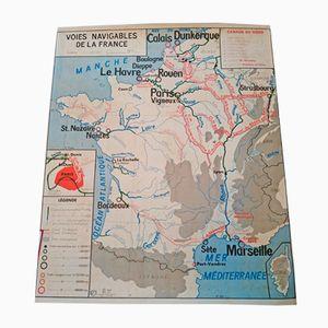 Doppelseitige Landkarte der französischen Wasserstraßen, Viehzucht & der Fischerei von J. Anscrombe, 1960er