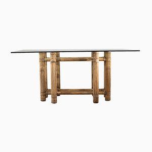 Vintage Esstisch mit Tischplatte aus Glas
