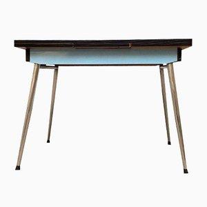 Blauer Mid-Century Tisch aus Resopal auf Spindelfüßen