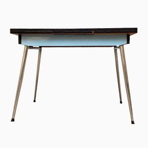 Mid-Century Blue Formica Table on Spindle Feet