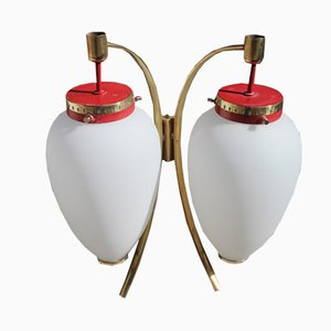 Wall Lamps in Brass, Red Lacquer, & Satin Glass from Stilnovo, 1950s, Set of 2