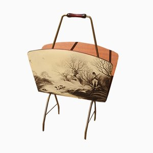 Brass Magazine Rack with English Hunting Scenes, 1950s