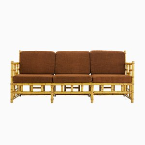 Vintage French Cane Bench, 1960s
