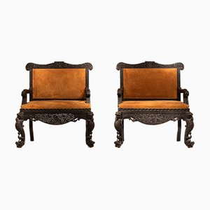 Large Antique Anglo-Indian 2-Seater Armchairs, Set of 2