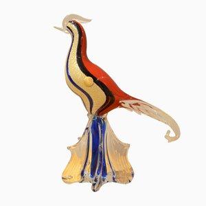 Vaso Bird of Paradise de cristal de Murano, años 50