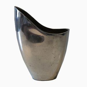 Silberne Vintage Vase aus Bronze, 1980er