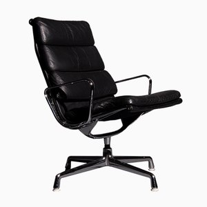 Vintage Model EA 216 Softpad Black Lounge Chair by Charles & Ray Eames for Herman Miller
