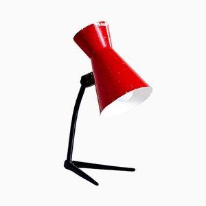Lámpara de mesa vintage en rojo, años 60