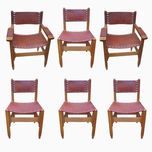 Vintage Leather & Wood Chairs & Armchairs, Set of 6