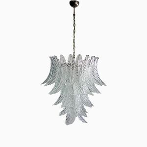 Large Italian Murano Fern Glass Chandelier from Mazzega, 1980s