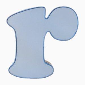 Letra R luminosa vintage en azul y blanco