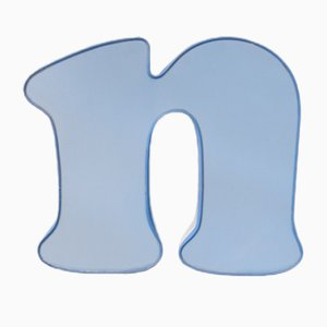 Vintage Blue & White Luminous Letter N