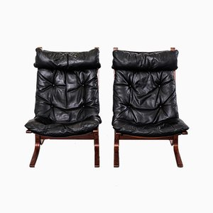 Mid-Century Siesta Leather Lounge Chairs by Ingmar Relling for Westnofa, Set of 2