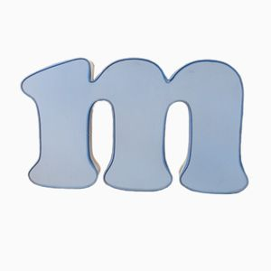 Vintage Blue & White Luminous Letter M