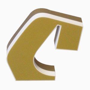 Letra C luminosa vintage en dorado y blanco