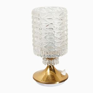 Vintage Textured Glass and Brass Table Lamp, 1970s
