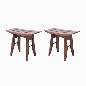 Mid-Century Oak Stools by Guillerme et Chambron for Votre Maison, Set of 2