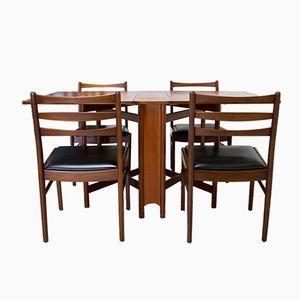 Chaises et Table de Salle à Manger à Abattant Mid-Century en Teck de McIntosh