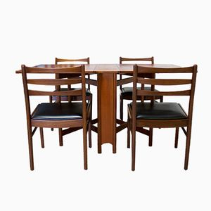 Mid-Century Teak Drop Leaf Dining Table Chairs Set from McIntosh