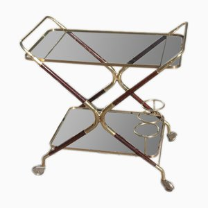 Italian Bar Trolley in Brass and Wood by Cesare Lacca, 1950s