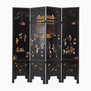 Antiker Raumteiler aus gemeißeltem Stein & bemaltem Holz