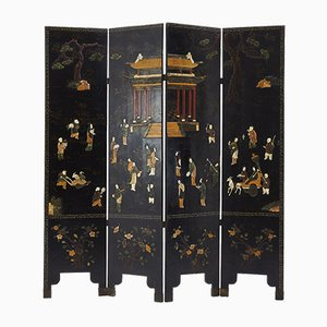 Antique Carved Stone & Lacquered Wood Screen