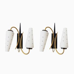French Brass & Glass Wall Lights, 1950s, Set of 2