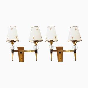 Französische Wandlampen aus Bronze & Sèvres Kristallglas, 1950er, 2er Set