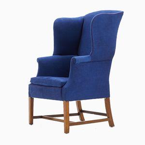 Antique Edwardian Mahogany Wing Armchair