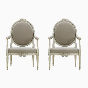 Antique Painted Armchairs, Set of 2