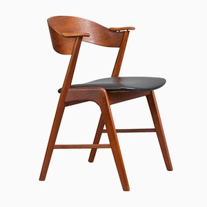 Danish Teak & Leather Chair with Plywood Back by Kai Kristiansen for Korup, 1950s