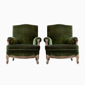 Large 19th-Century French Lounge Chairs, Set of 2