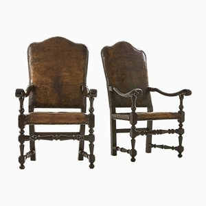18th-Century Italian Leather Armchairs, Set of 2