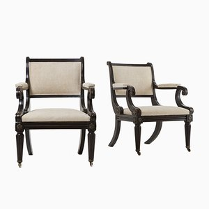 Vintage Library Armchairs, Set of 2