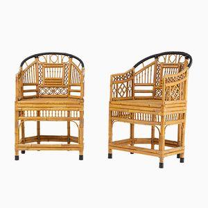 Französische Mid-Century Stühle aus Bambus, 2er Set