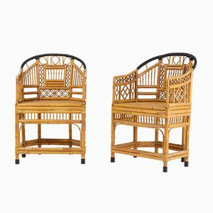 Mid-Century French Bamboo Chairs, Set of 2