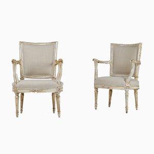 Silberne Stühle mit vergoldetem Gestell, 18. Jh., 2er Set