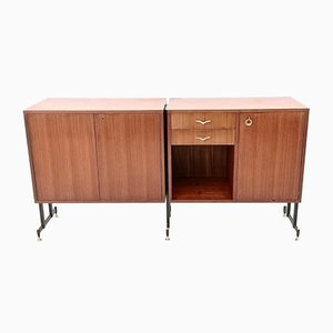 Mid-Century Teak, Varnished Metal, and Brass Sideboard, 1950s