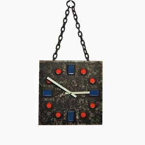 Horloge Murale Brutaliste en Céramique de Kienzle, 1980s