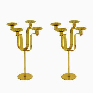 Brass Candleholders by Hans-Agne Jakobsson, 1950s, Set of 2