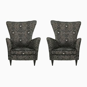 Black Patterned Armchairs, 1950s, Set of 2