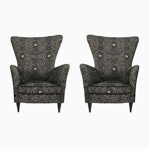 Gemusterte schwarze Sessel, 1950er, 2er Set