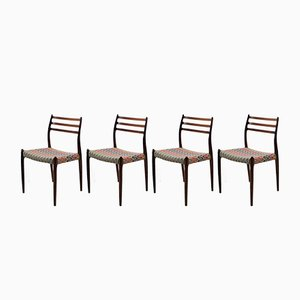 Model 78 Palisander Dining Chairs by Niels O. Møller, 1960, Set of 4