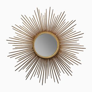 Großer Vintage Spiegel mit Rahmen in Sonnen-Optik von Chaty Vallauris AM, 1950er