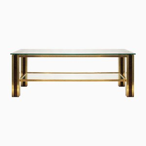 Coffee Table in Brass and Wood, 1970s