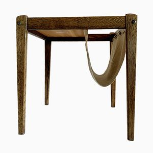 Mid-Century Teak & Canvas Side Table with Magazine Rack from BRDR Furbo, 1972