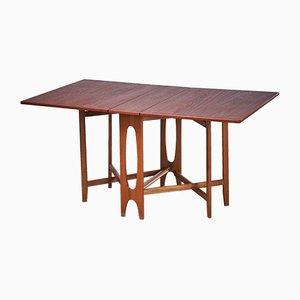 Tavolo ellittico pieghevole in teak di Bendt Winge per Kleppes, anni '50