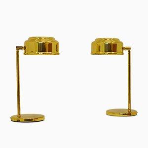 Lámparas de mesa escandinavas modernas de latón, años 60. Juego de 2